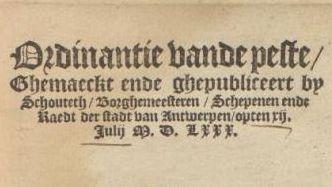 Ordinantie vande Peste, 12 juli 1580