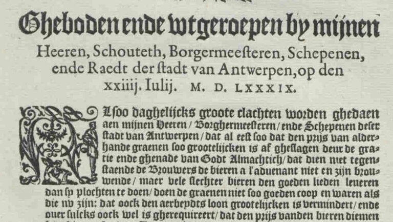 Gebod bierprijs en -kwaliteit 24 juli 1589